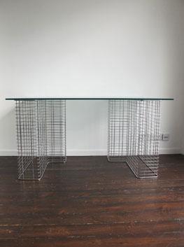 Vintage Glass Amp Chrome Trestle Desk By Habitat