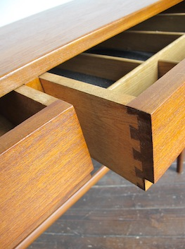 Teak Two Drawer Console Table