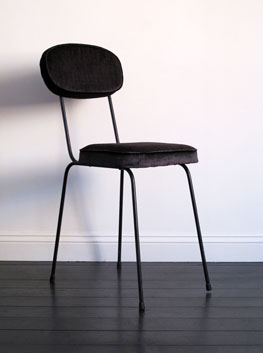 Vintage Delicate Black Steel Side Chair