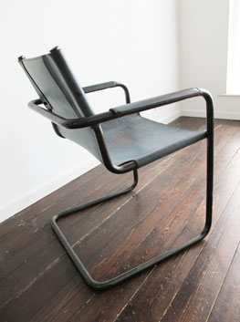 Vintage Leather U0026 Steel Cantilever Chair By Matteo Grassi, Italy.