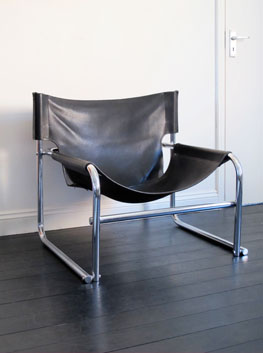 Pair Of Vintage U0027T1u0027 Leather U0026 Chrome Sling Chair By Rodney Kinsman/OMK, UK.